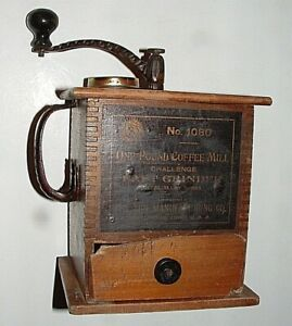 Antique Dovetail Wood 1 Drawer Coffee Grinder Mill, Sun Mfg. Co., Columbus, OH
