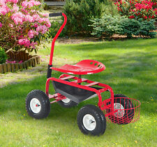 Garden Cart Rolling Work Seat Yard Tool Wheel Gardening Planting Stool W Handles