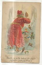 Santa Is on the Lookout for You! SANTA CLAUS Vintage Merry Christmas Postcard