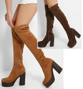 Womens Thigh High Boots Ladies Over The Knee Casual Block Heel Shoes Size 3-8