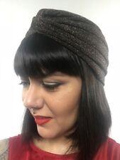 Bonnet turban stretch marron à paillettes pinup burlesque rétro sexy original