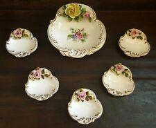 Antique Ksk Handerbeit Germany Set Of 6 Gilt Floral Roses Porcelain Dishes/Bowls