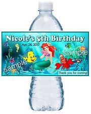 20 LITTLE MERMAID ARIEL BIRTHDAY ~ WATER BOTTLE LABELS ~ sea design 2