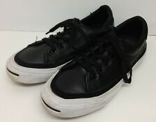 CONVERSE JACK PURCELL BLACK LEATHER LO SHOES - SIZE 3 UK / 35.5