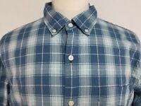 Bonobos Mens sz XL Blue Check Slim Fit Long Sleeve Button Front Shirt