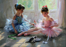 LMOP112 100% hand-painted two little ballet girls OIL PAINTING CANVAS decor ART