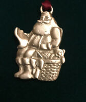 Longaberger Santa Claus Pewter Christmas Ornament Holidays Silver Collectible