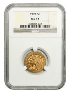 1909 $5 NGC MS62 - Indian Half Eagle - Gold Coin - Great Type Coin
