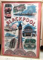 "BLACKPOOL Wall Art Travel Poster Print 100% COTTON 28"" X 20"" Lancashire England"