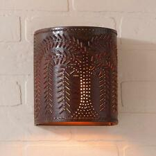 Country new distressed RUSTY punched tin WILLOW wall sconce light /nice