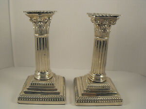 Pair of  Antique Solid Silver Column candlesticks Hawksworth, Eyre & Co  1886