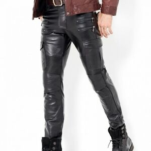 Leather Pant S Men Real Jeans Style Trousers Cow Breeches Pants Fit Mens Cargo 9
