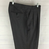 Kenneth Roberts Platinum 100% Wool Mens 38 x 32 Gray Pleated Dress Pants in LNC