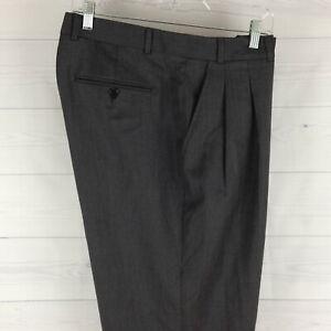 Kenneth Roberts Platinum 100% Wool Mens 38 x 32 Gray Pleated Dress Pants in LNC