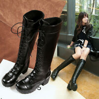 Goth Motorcycle Military boots womens lace Up chunky heels knee high boots Punk