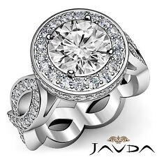 Round Diamond Engagement Unique Designer Ring EGL G SI1 14k White Gold 2.3 ct