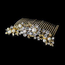 STUNNING BRIDAL WEDDING RHINESTONES GOLD PEARLS DIAMANTE HAIR COMB CLIP