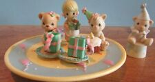 "1999 Precious moments ""Birthday Party Mini Tea Set"" Teddy Bear"