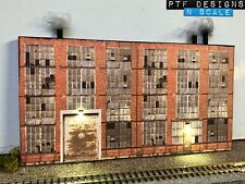 N Scale Industrial #1 Building Flat / Front 3D Background w/ LED, Factory