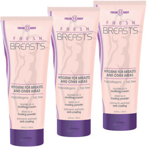 Fresh Breasts by Fresh Body 3.4oz (3 Pack) Antiperspirant Liquid Chafing Powder