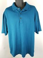 Grand Slam Golf Mens Blue Striped Short Sleeve Collared Polo Shirt Size XXL 2X