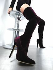 CQ COUTURE EXTREME OVERKNEE BOOT STIEFEL STIVALI STRETCH VELVET RED BORDEAUX 38