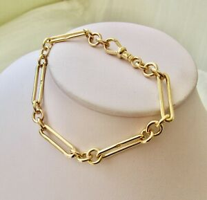 GENUINE 9K 9ct SOLID YELLOW GOLD ALBERT FOB PAPERCLIP BRACELET with SWIVEL CLASP