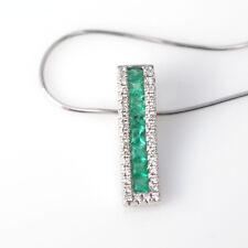 Beautiful Solid 14k WG Columbian Emerald Pendant Slide WIth Diamonds with Chain