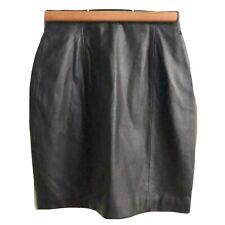 Leather Skirt 6 Vintage Wilsons Mini Black Short High Waisted Glam Rock 1980s