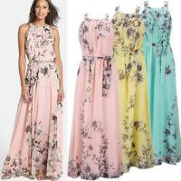 Plus Size Women Boho Floral Chiffon Long Maxi Dress Evening Party Sundress UK 20