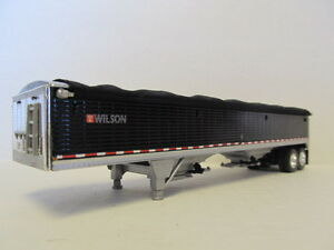 DCP 1/64 SCALE WILSON GRAIN TRAILER (HOPPER BOTTOM)  BLACK, SILVER HOPPERS