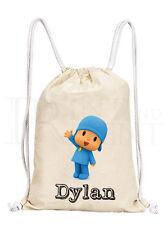 Personalised Boys Pocoyo Drawstring Canvas Gym/ PE Bag    [Design #3]