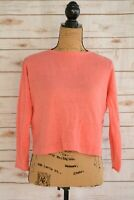 Eileen Fisher - Coral pink CROPPED 100% ORGANIC linen long sleeve sweater, PP