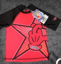 NEW Boys MAmbo Size 1 Swim Top Rashie, Red & Black, Short Sleeve, High Neck