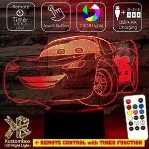 LIGHTING MCQUEEN CARS DISNEY 3D LED BATTERY USB NIGHT LIGHT +  REMOTE 7 COLOUR