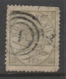 Denmark - 1864, 16sk Olive-Green or Grey-Green stamp - Used - SG 30 or 30a