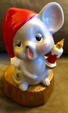 Vintage FUJI Wind-Up Revolving Porcelain Christmas Mouse Ceramic Music Box