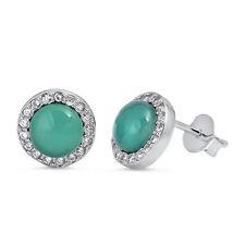 Green Agate Halo Cz Stud .925 Sterling Silver Earrings