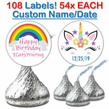 108 Unicorn Custom Name Date Birthday Party Favor Sticker For Hershey Kiss Label