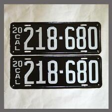 1920 California License Plates Pair Restored DMV Clear YOM CA