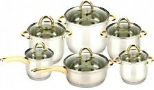 New Box 12 PCs S.S Cookware Set w. Golden Coating