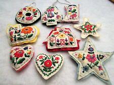 Lot 9 Embroidered Felt Stuffed Christmas Ornaments Vintage Floral