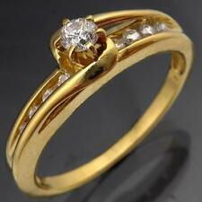Lively 18k Solid Yellow GOLD DIAMOND SOLITAIRE & ACCENTS DRESS RING Lgr Sz S1/2