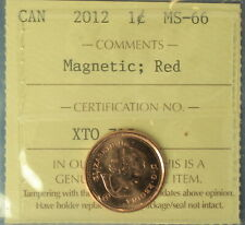 Canada 2012 Penny (Cent) - Graded by ICCS MS-66 (Red) - Magnetic