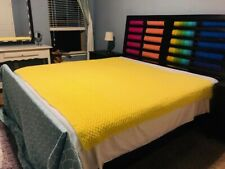 Hand made queen size, yellow crochet Afghan blanket brand new never used