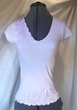 BNWT Lilac Purple Embroidered Applique Top UK 10 US 6 Cotton Summer Short Sleeve