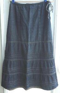 Vintage Denim Skirt Prairie Maxi Tiered sz Medium Modest Peasant tie & side zip