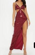 Burgundy Sequin Disc Cut Out Maxi Dress Size 4 RRP£60 {R61}