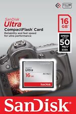 SanDisk 16GB Ultra Compact Flash Card 50MB/s For Canon EOS 400D 300D 7D 350D 30D