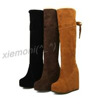 Chic Women's Pull On Wedge Over Knee High Boots Casual Suede Shoes All UK Size